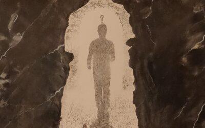 Destino 08                            Destino: Quale sarà il destino dell essere umano? Su una tavola di legno ho voluto creare un finto marmo immaginario dai colori istintivi di quel preciso momento. Da questa parete di fantasia l'immagine non nitida di un uomo che sta camminando verso il suo destino. Qualunque destino che avrà l'uomo la nostra unica salvezza sarà la mente(evidenziata nell'immagine in ombra)