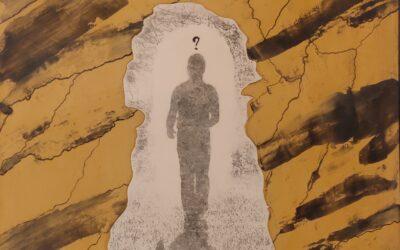 Destino 11           Destino: Quale sarà il destino dell essere umano? Su una tavola di legno ho voluto creare un finto marmo immaginario dai colori istintivi di quel preciso momento. Da questa parete di fantasia l'immagine non nitida di un uomo che sta camminando verso il suo destino. Qualunque destino che avrà l'uomo la nostra unica salvezza sarà la mente(evidenziata nell'immagine in ombra)