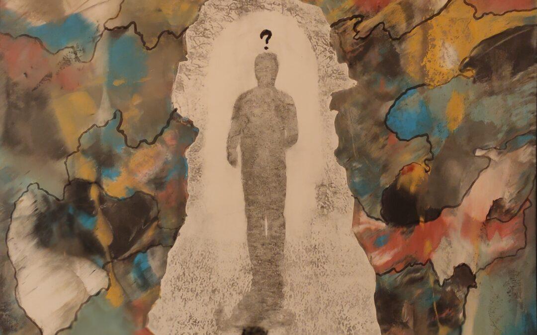 Destino 13                Destino: Quale sarà il destino dell essere umano? Su una tavola di legno ho voluto creare un finto marmo immaginario dai colori istintivi di quel preciso momento. Da questa parete di fantasia l'immagine non nitida di un uomo che sta camminando verso il suo destino. Qualunque destino che avrà l'uomo la nostra unica salvezza sarà la mente(evidenziata nell'immagine in ombra)