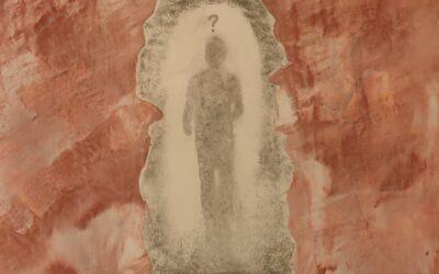 Destino 15         Quale sarà il destino dell essere umano? Su una tavola di legno ho voluto creare un finto marmo immaginario dai colori istintivi  di quel preciso  momento. Da questa parete di fantasia l'immagine non nitida di un uomo che sta camminando verso il suo destino. Qualunque destino che avrà l'uomo la nostra unica salvezza sarà la mente(evidenziata nell'immagine in ombra)